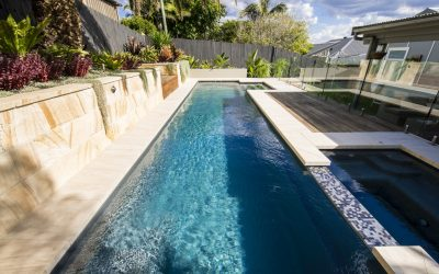 Compass Pools Fastlane fibreglass lap pools with a spa attached